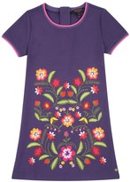 Juicy Couture Girls Knit Floral Embroidered Ponte Dress