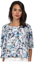 Sam Edelman Photo Floral 3/4 Dolman Sleeve Flounce Tee