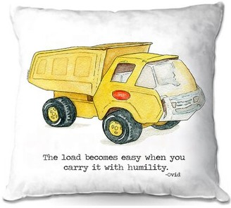 "Harriet Bee Rolanda Couch Toys Dump Truck Square Throw Pillow Size: 16"" x 16"""