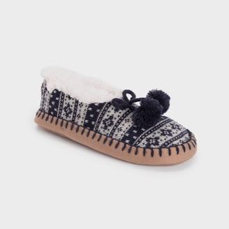 Muk Luks Women's Ballerina Slipper Socks with Pom Poms - Dark