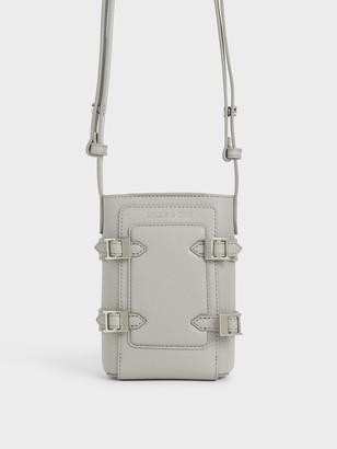 Charles & Keith Small Croc-Effect Buckle Bucket Bag