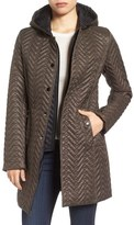Larry Levine Two-Tone Hooded Bib Quilted Coat