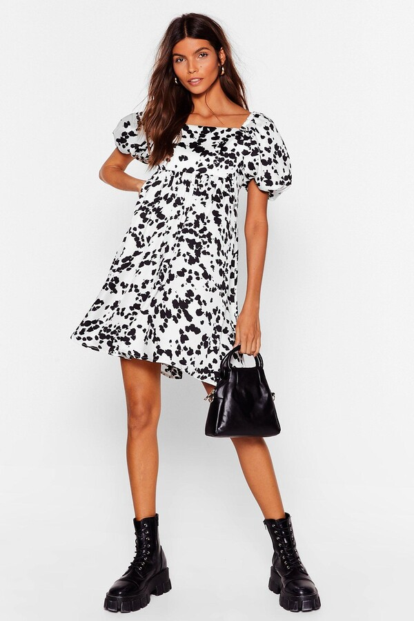 Thumbnail for your product : Nasty Gal Womens Cow Print Puff Sleeve Mini Dress - White - 8