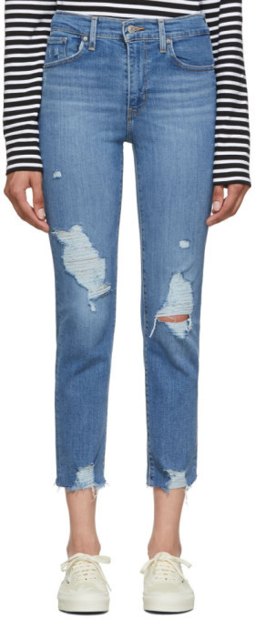 Levi's Levis Blue 724 High-Rise Straight Crop Jeans