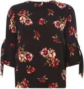 Dorothy Perkins Black Chestnut Tie Sleeve Top