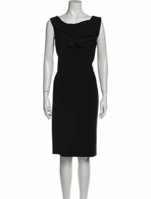 Oscar de la Renta Bateau Neckline Knee-Length Dress Black