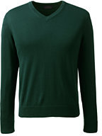 Classic Men's Fit Fine Gauge Supima Cotton V-neck Sweater-Dark Camel Heather