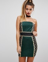 PrettyLittleThing Premium Strapless Blocked Embellished Mini Dress