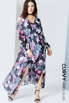 Girls On Film Floral Print Cold Shoulder Maxi Dress