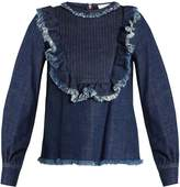 See by Chloe Ruffle-trimmed bib-front denim top