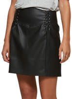 Miss Selfridge Faux Leather Corset Detail Skirt, Black