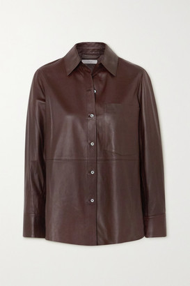 Vince Leather Shirt - Chocolate