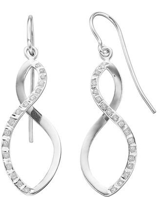 Mystique Diamond Sterling Silver Infinity Drop Earrings