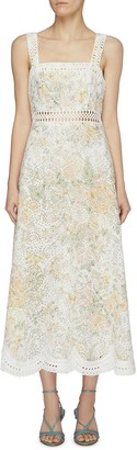 Zimmermann Amelie floral embroidered scalloped hem sundress