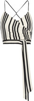 Alice + Olivia Alice Olivia - Rayna Striped Silk Wrap-effect Top - Ecru