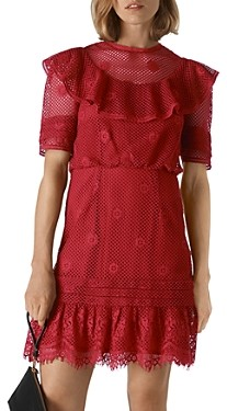 Whistles Mariah Ruffled Lace Mini Dress