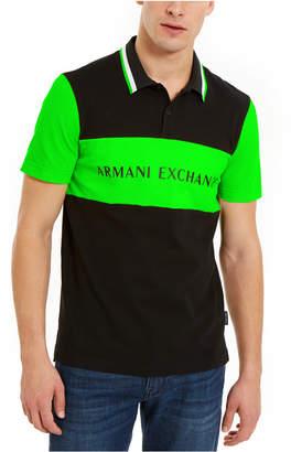 Armani Exchange Men Hyperbright Regular-Fit Colorblocked Logo-Print Polo Shirt