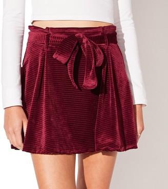 Juniors' Vylette Self Belted Paperbag Skirt