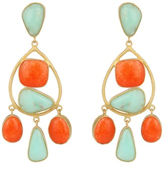 Carousel Jewels Aventurine & Chrysoprase Gold Statement Earrings
