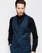 Asos Waistcoat In Dark Teal With Tipping