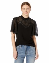 Rebecca Taylor Women's Short Sleeve Crepe Lace Top