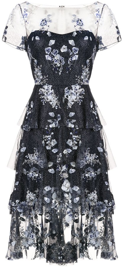 Marchesa Notte Floral Embroidered Glitter Dress
