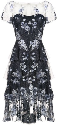 Marchesa Floral Embroidered Glitter Dress
