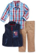 Nannette Baby Boys' 3-Pc. Faux Fur Vest, Plaid Shirt & Pants Set
