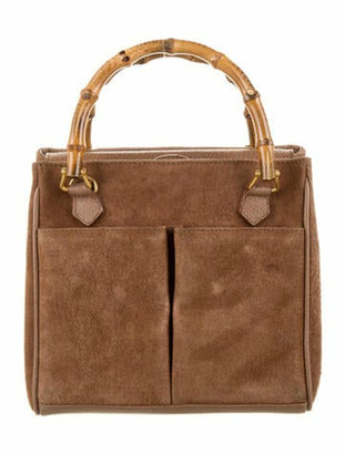 Gucci Vintage Mini Suede Bamboo Satchel Brown
