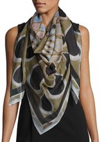 Givenchy Square Voile Kaleidoscope Scarf, Green