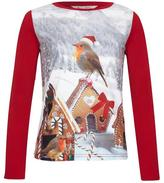 Yumi Girl Robin Gingerbread Christmas Top Red