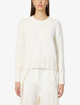 Reiss Cady cut-out back cotton and wool-blend jumper