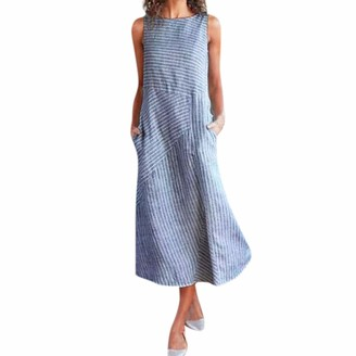 Tosonse Striped Dresses with Pockets for Women Sleeveless Long Dresses Solid Color Linen Dresses