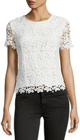 Joan Vass Short-Sleeve Crochet-Overlay Top, Ivory