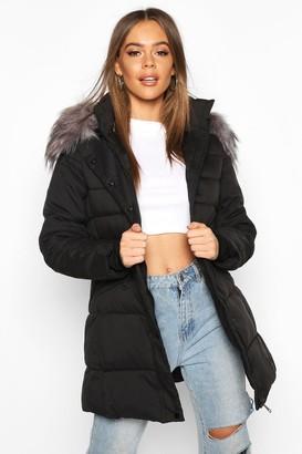 boohoo Faux Fur Trim Parka Coat