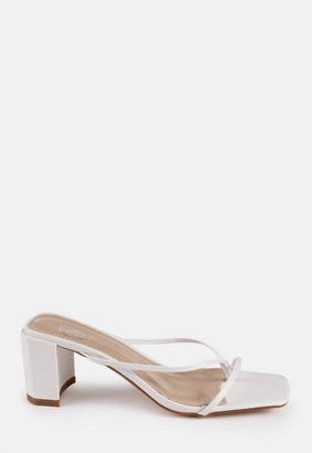 Missguided White Block Heel Toe Post Sandals