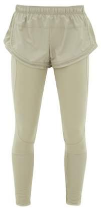 adidas by Stella McCartney Shorts-overlay Mesh-panelled Leggings - Womens - Green