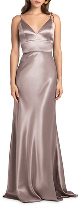 Jenny Yoo Collection Brenna V-Neck Satin Crepe Gown
