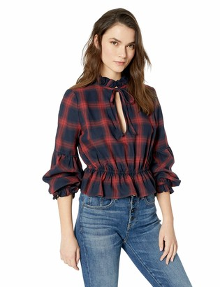 The Fifth Label Women's Nash Check Long Puff Sleeve Peplum Blouse Top
