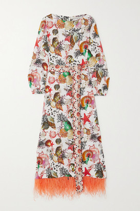 Mary Katrantzou Mary Mare Mary Katrantzou MARY-MARE - Firenze Belted Feather-trimmed Printed Linen Maxi Dress - White