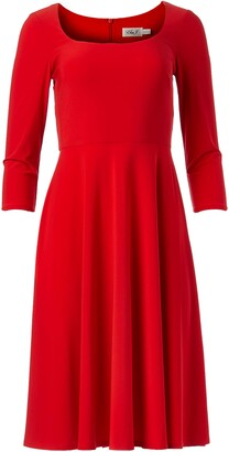 Brinker & Eliza Women's 3/4 Sleeve Scoop Neck FIT and Flare Dress