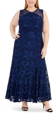 R & M Richards Plus Size Sequin Lace Gown