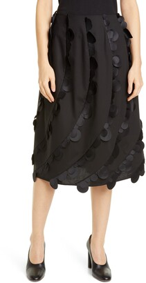 PASKAL clothes Laser Cut Dot Stretch Cotton Midi Skirt