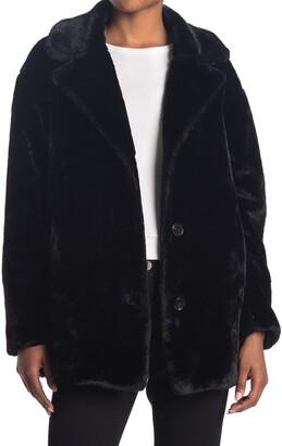 Kensie Faux Fur Notch Collar Coat