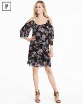 White House Black Market Petite Cold-Shoulder Floral Shift Dress