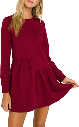 ENGLISH FACTORY Unbalanced Seam Long-Sleeve Knit Dress