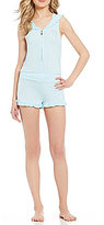 Betsey Johnson Blue by Rhinestone Mrs. Ruffled Hooded French Terry Lounge Romper
