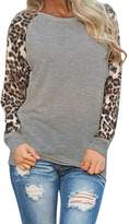 Zilcremo Women Fall Casual Long Sleeve Leopard Print T-Shirt Top Tee Plus Size XL