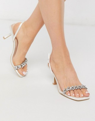 Almeria Be Mine Bridal sling back heeled sandals with embellishment in ivory satin