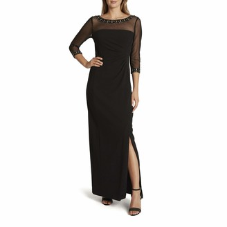 Tahari ASL Women's Long Sleeve Illusion Top Fitted Gown